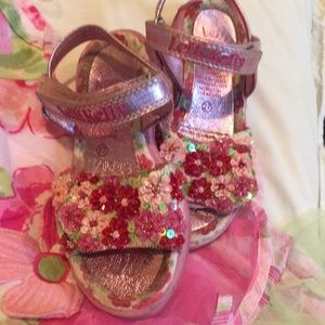 Lelli Kelly pink beaded sandals size (27) US 10T